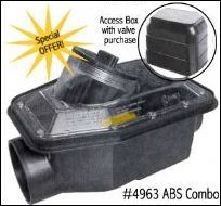 black ABS backwater valve with access box